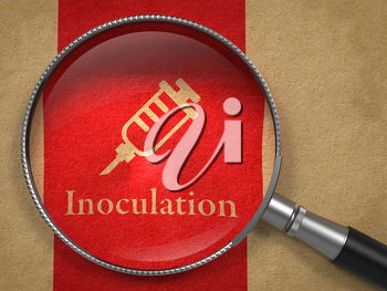 Inoculation Concept. Magnifying Glass with Syringe Icon on Old Paper with Red Vertical Line Background.