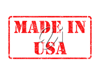 Made in USA - inscription on Red Rubber Stamp Isolated on White.