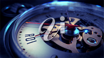 ROI on Pocket Watch Face with Close View of Watch Mechanism. Time Concept. Vintage Effect.