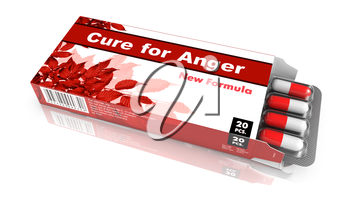 Cure for Anger - Red Open Blister Pack Tablets Isolated on White.