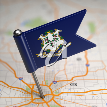 Small Flag of Connecticut on a Map Background with Selective Focus.