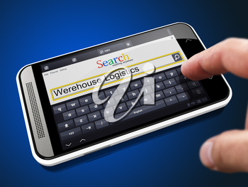 Warehouse Logistics in Search String - Finger Presses the Button on Modern Smartphone on Blue Background.