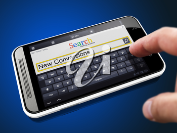 New Conversions in Search String - Finger Presses the Button on Modern Smartphone on Blue Background.