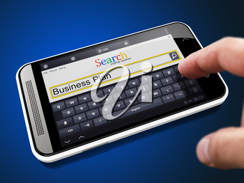 Business Plan in Search String - Finger Presses the Button on Modern Smartphone on Blue Background.