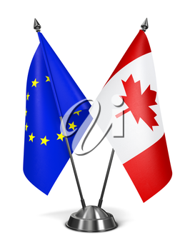 European Union and Canada - Miniature Flags Isolated on White Background.