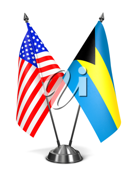 USA and Bahamas - Miniature Flags Isolated on White Background.