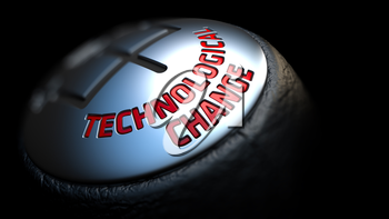 Technological Change - Red Text on Black Gear Shifter with Leather Cover. Close Up View. Selective Focus.