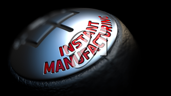 Instant Manufacturing. Control Concept. Gear Lever on Black Background. Close Up View. Selective Focus. 3D Render.