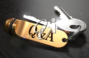 Questions and Answers  Concept. Keys with Golden Keyring on Black Wooden Table. Closeup View, Selective Focus, 3D Render.