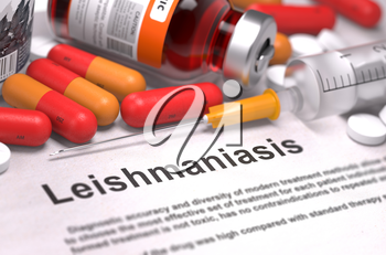 Diagnosis - Leishmaniasis. Medical Report with Composition of Medicaments - Red Pills, Injections and Syringe. Selective Focus.