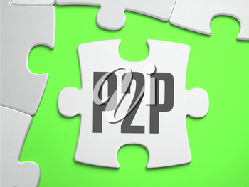 P2P - Peer to Peer - Jigsaw Puzzle with Missing Pieces. Bright Green Background. Close-up. 3d Illustration.