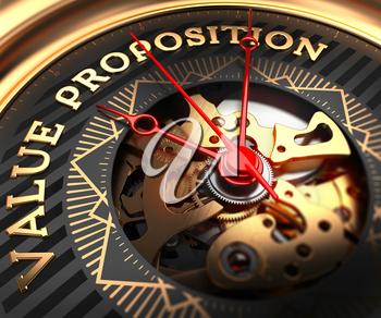 Value Proposition on Black-Golden Watch Face with Closeup View of Watch Mechanism.
