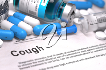 Cough - Printed Diagnosis with Blue Pills, Injections and Syringe. Medical Concept with Selective Focus.