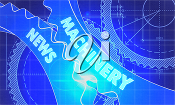 Machinery News on Blueprint of Cogs. Technical Drawing Style. 3d illustration with Glow Effect.