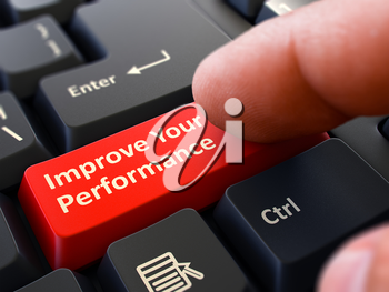 Person Click on Red Keyboard Button with Text Improve Your Performance. Selective Focus. Closeup View.