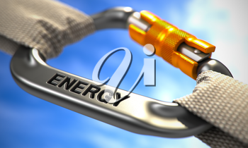 Chrome Ropes Connected by White Carabiner Hook with Text Energy. Selective Focus. 3d Illustration.