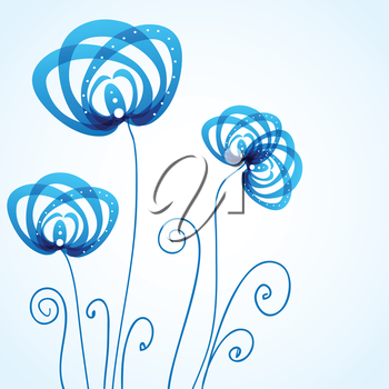 Blue floral background with abstract flowers