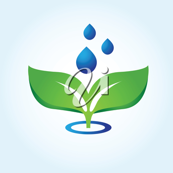 Royalty Free Clipart Image of a Green Leaf and Water Droplets