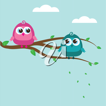 Royalty Free Clipart Image of Birds on a Tree Branch