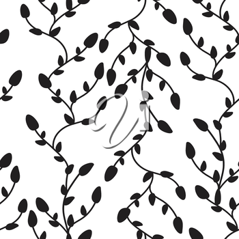 Seamless black and white vector pattern from tree branches and leaves