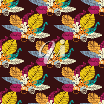 Seamless pattern with acorns and  leaves. Vector illustration. Hand drawn background.