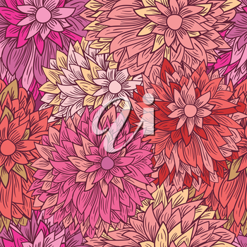 Vintage floral pattern in pink colors. Hand drawn chrysanthemums flowers.Vector illustration for design of gift packs, wrap,  patterns fabric, wallpaper, web sites and other.