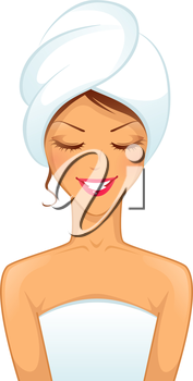 Vector illustration of Young smiling woman with towel