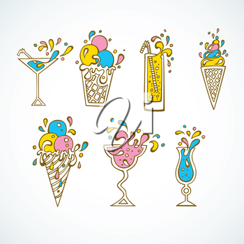 Vector illustration (eps 10) of Cocktails icons