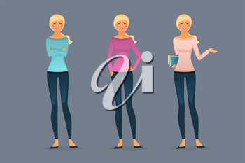 Vector illustration of Beautiful and young girls