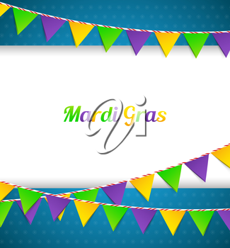 Vector illustration of Mardi Gras background with flags