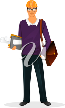 Vector illustration of Architect man character image