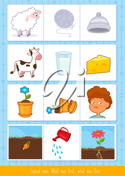 Educational children game, vector illustration. Logical rows for kids.