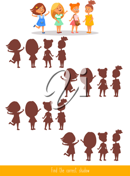 Educational children game. Logic game. Find the correct shadow