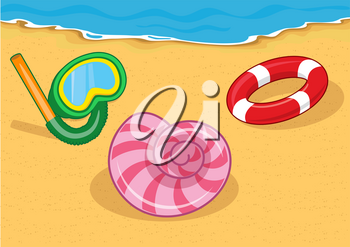 Vector illustration of beach elements. Diving mask, seashell and lifebuoy