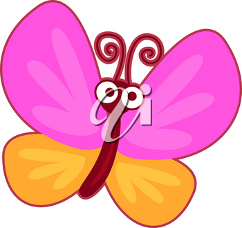 Vector illustration of cute yellow and pink butterfly on white background