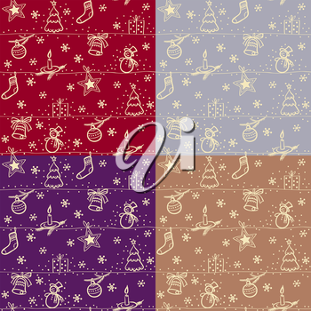 Christmas seamless vector background set of four options