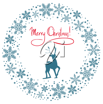 Christmas snow garland background with deer