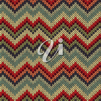 Style Seamless Knitted Pattern. Red Blue Brown Yellow Orange Green Color Illustration from my large Collection of Samples of knitted Fabrics
