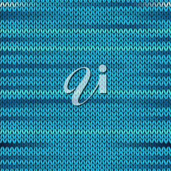 Style Seamless Knitted Melange Pattern. Blue Turquoise Color Vector Illustration