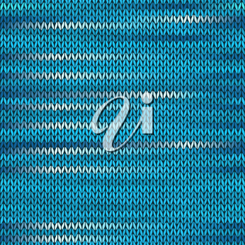 Style Seamless Knitted Melange Pattern. Blue White Color Vector Illustration