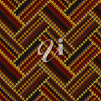 Seamless Knitted Pattern. Yellow Orange Red Brown Grey Black Color Swatch
