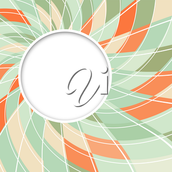 Abstract white round shape with digital orange and green pattern. Vector background