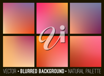 Abstract backgrounds set. Smooth blurred template design for creative decor covers, banners and websites