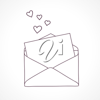 Open letter with hearts. Outline doodle graphic style.