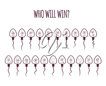 Sperm icon cartoon emoticons. Set of different funny characters. Competition concept. Who will be the winner