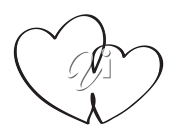 Hearts. Continuous line art drawing. Love and friendship concept. Black and white vector illustration.