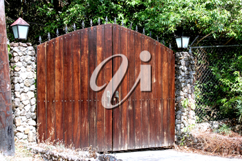 Wooden front gate of a private propery