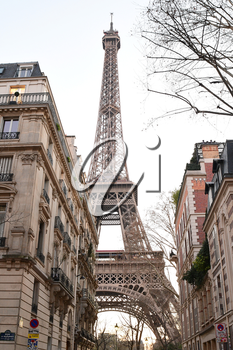 PARIS-FRANCE-FEB 25, 2019: The Eiffel Tower is a wrought-iron lattice tower on the Champ de Mars in Paris, France. It is named after the engineer Gustave Eiffel.