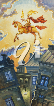 Royalty Free Clipart Image of a Knight Riding Over Buildings