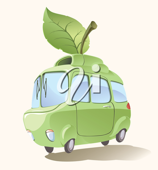 Ecologically clean and environmentally friendly retro-styled imaginary small car..